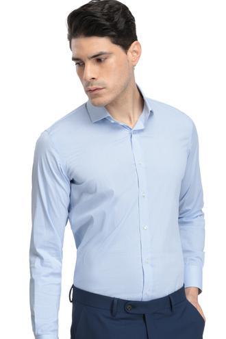 Ds Damat Slim Fit Mavi Dokulu Gömlek - 8681779625575 | D'S Damat