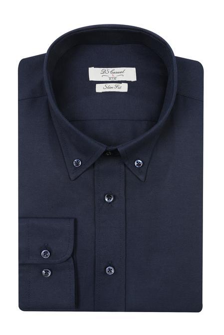 Ds Damat Slim Fit Lacivert Oxford Gomlek - 8682060785466 | D'S Damat