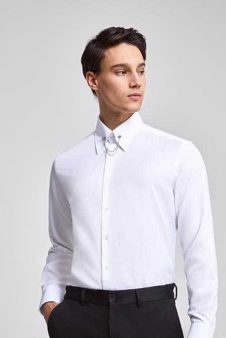 Twn Slim Fit Beyaz Armürlü Gomlek - 8682060406057 | D'S Damat