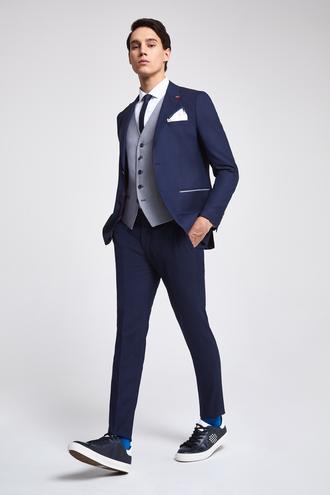 Twn Slim Fit Slim Fit Lacivert Armürlü Kombinli Takım Elbise - 8682060140081 | D'S Damat