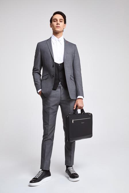 Twn Slim Fit Slim Fit Gri Armürlü Kombinli Takım Elbise - 8682060141033 | D'S Damat