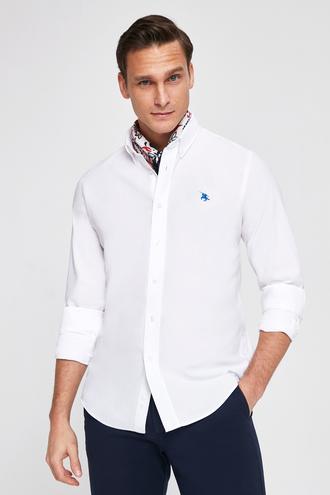 Ds Damat Slim Fit Beyaz Pike Dokulu Gomlek - 8682060143402 | D'S Damat
