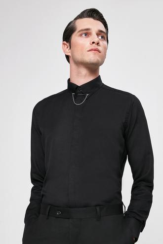 Twn Slim Fit Siyah Armürlü Gömlek - 8682060164308 | D'S Damat