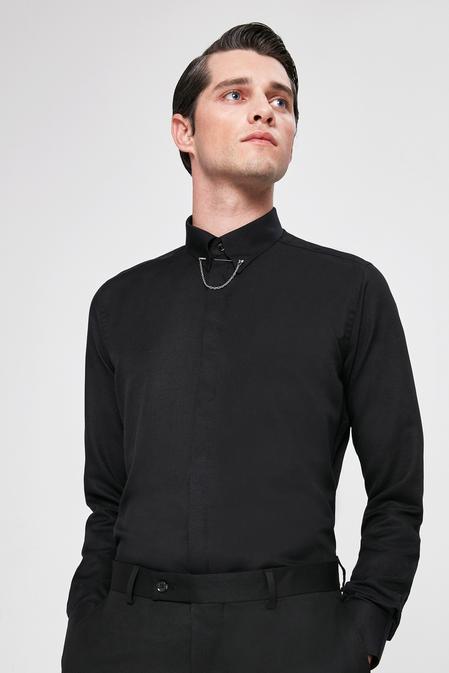 Twn Slim Fit Siyah Yaka İğneli Gomlek - 8682060164308 | D'S Damat