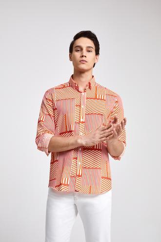 Twn Slim Fit Turuncu Baskılı Vual Gömlek - 8682060913128 | D'S Damat