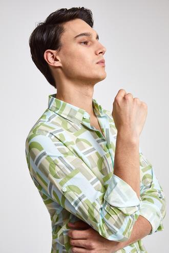 Twn Slim Fit Yeşil Baskılı Gomlek - 8682060170101 | D'S Damat