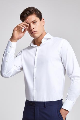 Ds Damat Slim Fit Beyaz Armürlü Gomlek - 8681779777229 | D'S Damat