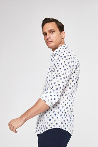 Ds Damat Slim Fit Beyaz Baskılı Gömlek - 8681779780175 | D'S Damat
