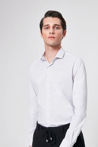 Twn Slim Fit Beyaz Baskılı Gomlek - 8681779782773 | D'S Damat