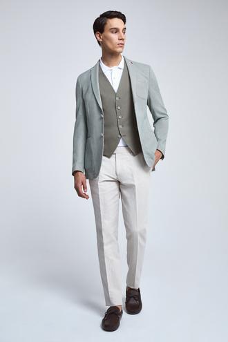 Twn Slim Fit Yeşil Armürlü Kombinli Takım Elbise - 8682060361509 | D'S Damat