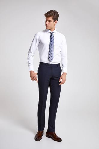 Ds Damat Slim Fit Lacivert Armürlü Kumaş Pantolon - 8681779974925 | D'S Damat