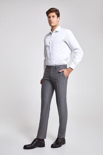 Ds Damat Slim Fit Gri Armürlü Kumaş Pantolon - 8682060078384 | D'S Damat