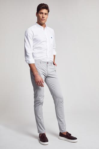 Ds Damat Slim Fit Gri Baskılı Chino Pantolon - 8681779900245 | D'S Damat