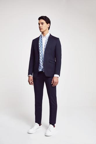 Twn Slim Fit Slim Fit Lacivert Armürlü Takim Elbise - 8682060534897 | D'S Damat