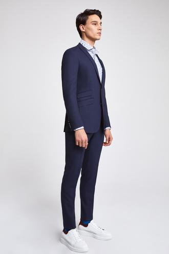 Twn Slim Fit Slim Fit Lacivert Armürlü Takim Elbise - 8681779983507 | D'S Damat