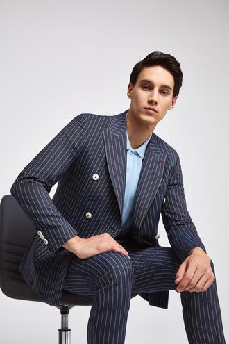 Twn Slim Fit Slim Fit İndigo Çizgili Takim Elbise - 8682060083395 | D'S Damat