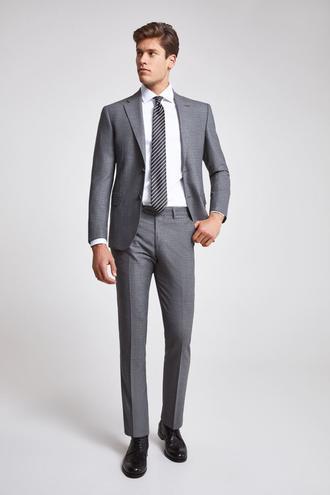 Ds Damat Slim Fit Slim Fit Gri Armürlü Takım Elbise - 8682060096036 | D'S Damat