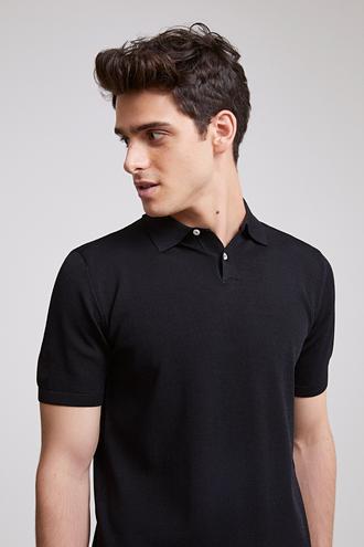 Ds Damat Slim Fit Siyah Düz Örgü T-shirt - 8682060147776   D'S Damat