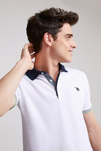 Ds Damat Regular Fit Beyaz Pike Dokulu T-shirt - 8681779871675   D'S Damat