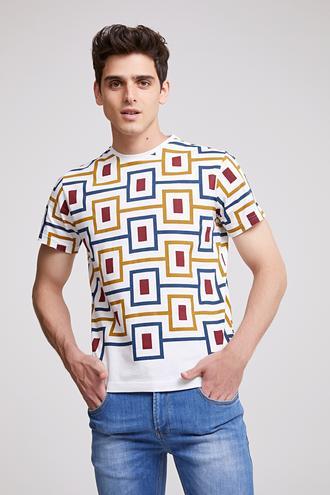 Twn Slim Fit Karma Renk Baskılı T-shirt - 8682060044761 | D'S Damat