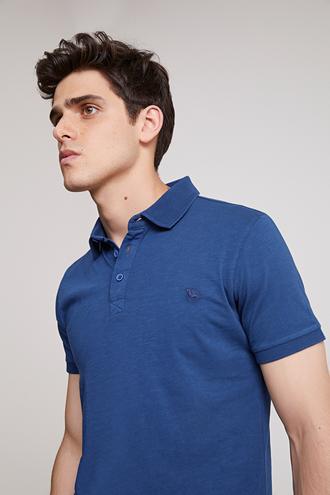 Ds Damat Slim Fit İndigo Pike Dokulu T-shirt - 8682445309522 | D'S Damat