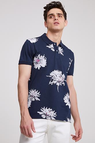 Ds Damat Slim Fit Lacivert Baskılı T-shirt - 8682060495174 | D'S Damat