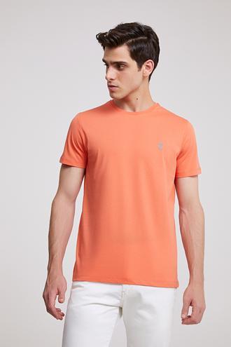 Twn Slim Fit Turuncu Düz T-shirt - 8682060050021 | D'S Damat