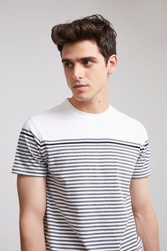 Twn Slim Fit Beyaz Çizgili T-shirt - 8682060045157 | D'S Damat