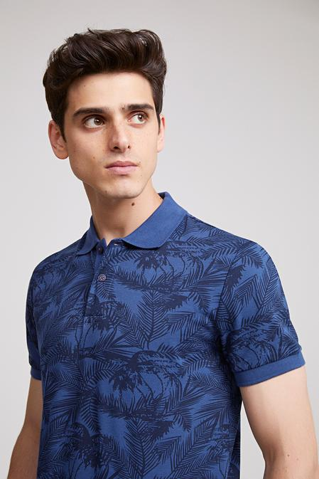 Ds Damat Slim Fit Lacivert Baskılı T-shirt - 8682060366498 | D'S Damat