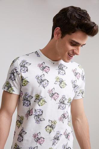 Twn Slim Fit Beyaz Baskılı T-shirt - 8681779098447 | D'S Damat