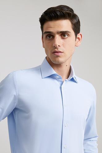 Ds Damat Slim Fit Mavi Armürlü Gomlek - 8682060785060 | D'S Damat