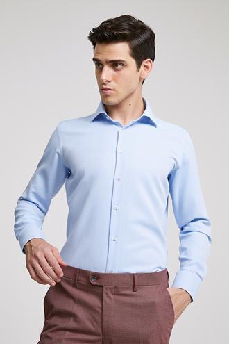 Ds Damat Slim Fit Mavi Armürlü Gomlek - 8682060785251 | D'S Damat