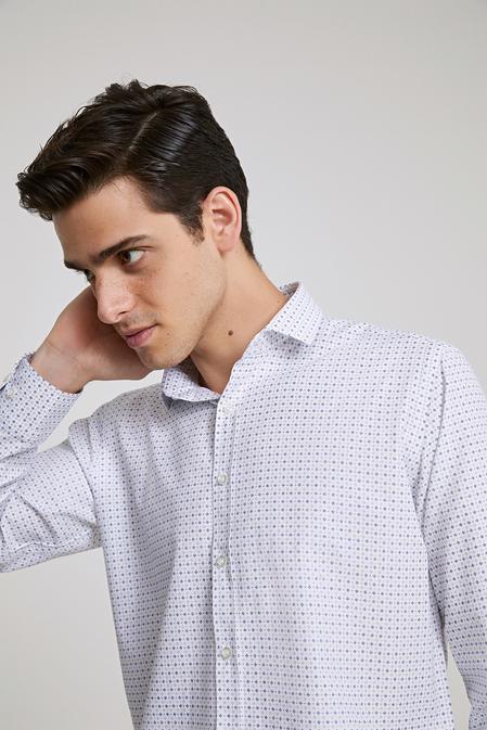 Twn Slim Fit Beyaz Baskılı Gomlek - 8682060786159 | D'S Damat