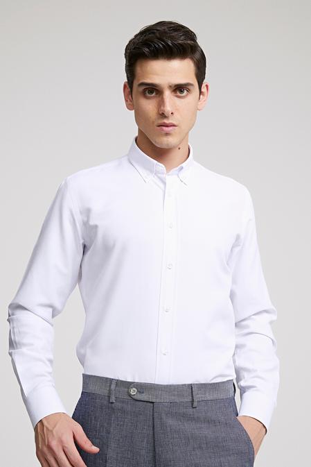 Ds Damat Slim Fit Beyaz Oxford Gomlek - 8682060785671 | D'S Damat