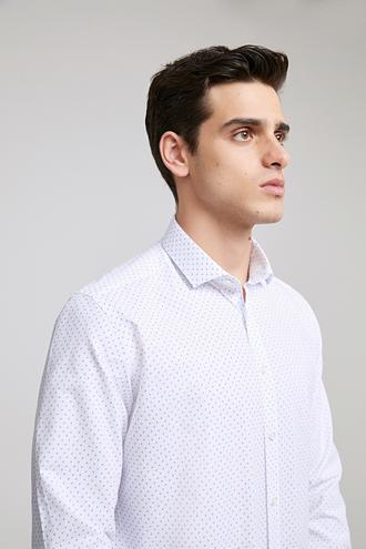Twn Slim Fit Beyaz Baskılı Gomlek - 8682060786258 | D'S Damat