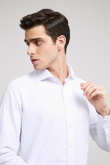 Ds Damat Slim Fit Beyaz Armürlü Gomlek - 8682060787460 | D'S Damat