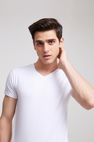 Ds Damat Slim Fit Beyaz Yok T-shırt - 8682060252173 | D'S Damat