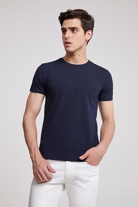 Ds Damat Slim Fit Lacivert T-shirt - 8682060252289 | D'S Damat
