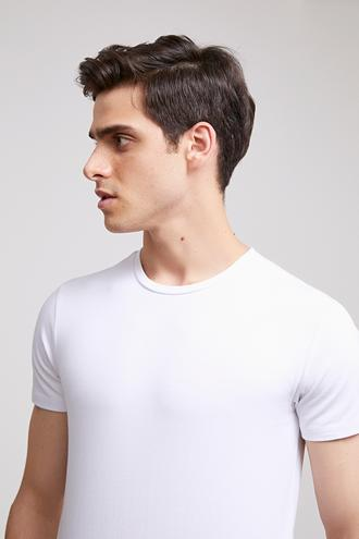 Ds Damat Slim Fit Beyaz T-shırt - 8682060252388 | D'S Damat