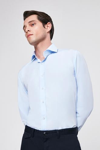 Ds Damat Slim Fit Mavi Düz Gomlek - 8682060153289 | D'S Damat