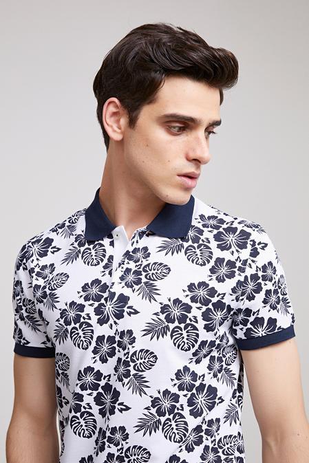 Ds Damat Slim Fit Beyaz Baskılı T-shirt - 8682060496133 | D'S Damat