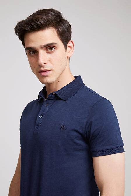 Ds Damat Slim Fit Lacivert Pike Dokulu T-shirt - 8682445309218   D'S Damat