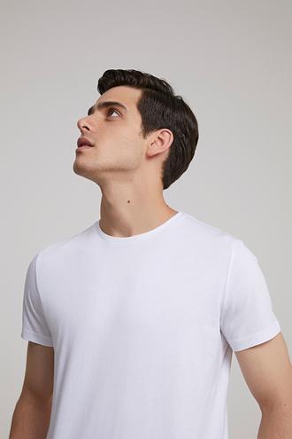 Twn Slim Fit Beyaz Düz T-shirt - 8682060731128 | D'S Damat