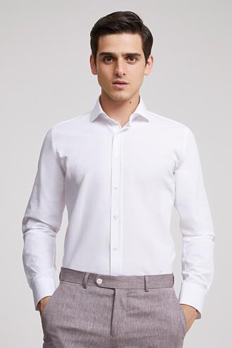 Ds Damat Slim Fit Beyaz Düz Gomlek - 8681779990734 | D'S Damat