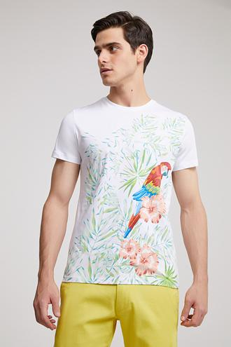 Twn Slim Fit Beyaz Nakışlı T-Shirt - 8682060495266 | D'S Damat