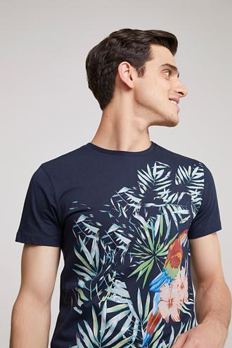 Twn Slim Fit Lacivert Baskılı T-shirt - 8682060495365 | D'S Damat