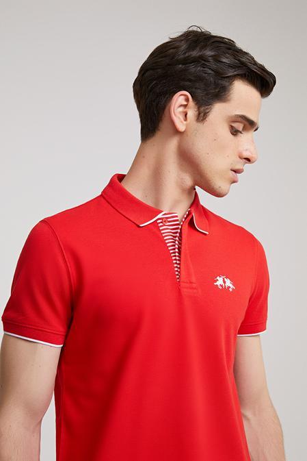 Ds Damat Slim Fit Kırmızı Pike Dokulu T-shirt - 8682060372123 | D'S Damat