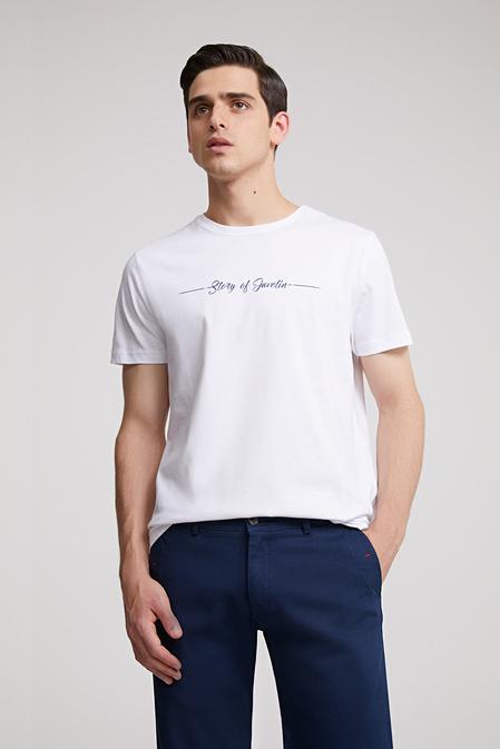 Ds Damat Regular Fit Beyaz Baskılı T-shirt - 8682060373342 | D'S Damat
