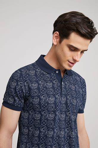 Ds Damat Slim Fit Lacivert Baskılı T-shirt - 8682060372680 | D'S Damat
