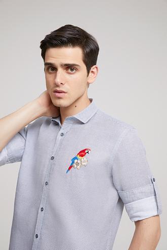 Twn Slim Fit Beyaz Desenli Gömlek - 8681779294313 | D'S Damat